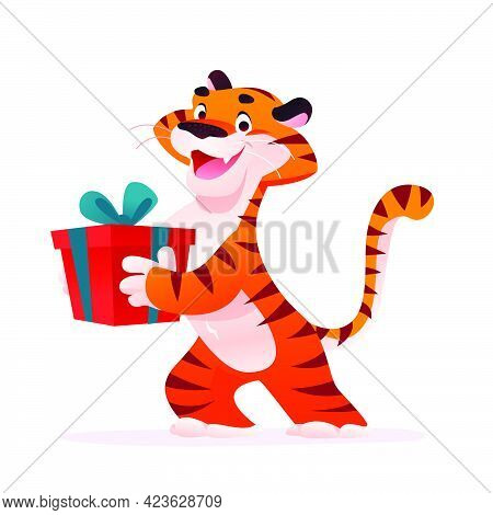 Portrait Of Funny Tiger Character With Red Gift Box Isolated On White Background. Flat Cartoon Style