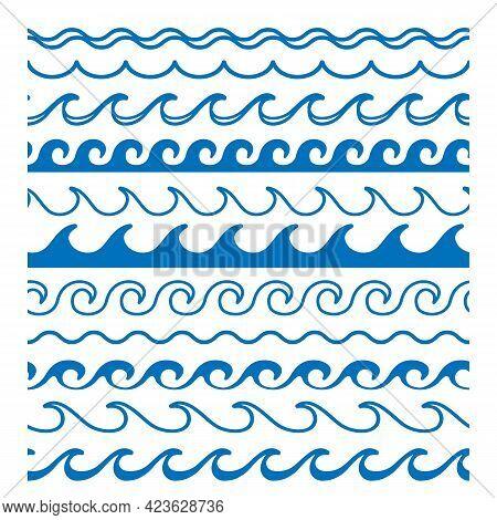 Waves Borders Clipart. Sea Wave Vector Border Set, Summer Sea Repeating Tide Divider Symbols, Ocean