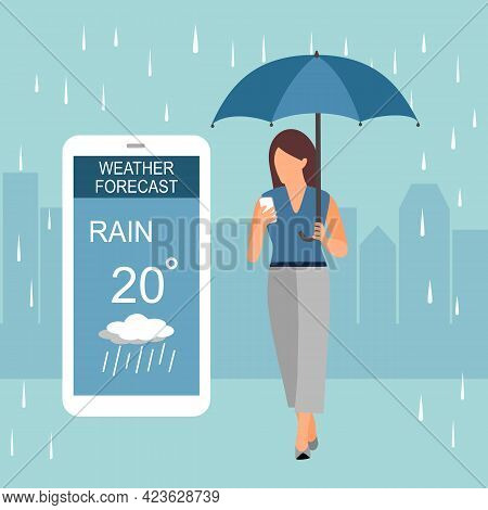 Woman Holding Umbrella And Looking At Weather Forecast On Smartphone Screen. Weather Forecast Mobile