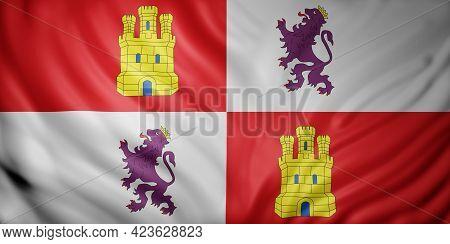 3d Rendering Of A Castilla Leon Spanish Community Flag