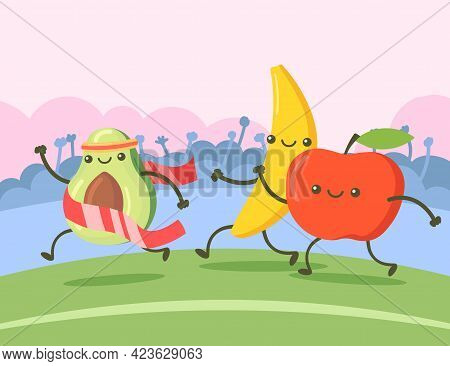 Avocado, Banana And Apple Cartoon Characters Running Marathon. Cute Avocado Crossing Finish Line, Wi