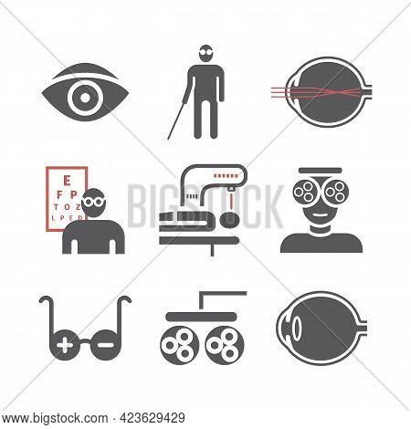 Myopia Icons Set. Vector Illustration For Websites, Magazines, Brochures. Medicine Signs