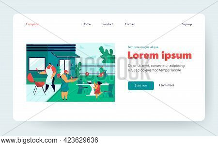 Home Barbecue Party Vector Illustration. Happy Mom, Dad, Kids Cooking Grilled Meat, Playing, Having