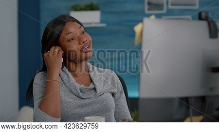 Black Student Discussing With Math Professor During Online Videocall Conference Meeting Studying Mat