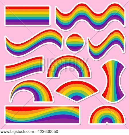 Rainbow Sticker Set - Lgbt Pride Slogan Against Homosexual Discrimination. Modern Calligraphy With R