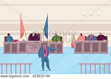 Attorney Speaking In Courtroom. Judge And Lawyers Making Judgement In Trial Flat Vector Illustration