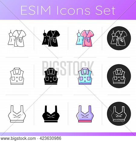 Comfortable Clothing Icons Set. Gown And Robe. Denim Jacket. Sporty Bra Top. Female Outfits. Comfy N