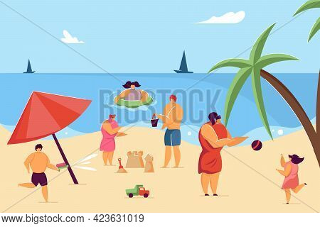 Children And Parents Having Fun On Beach. Child Making Sand Castle, Kid Swimming In Water Flat Vecto