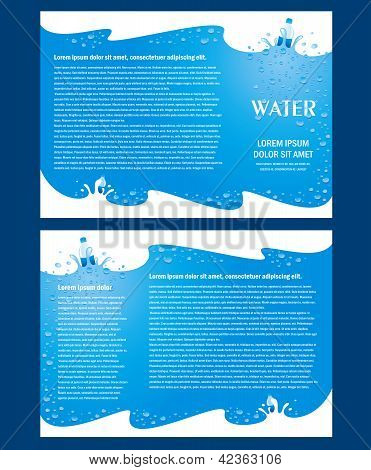 Brochure Folder Water Aqua Splash Bootle