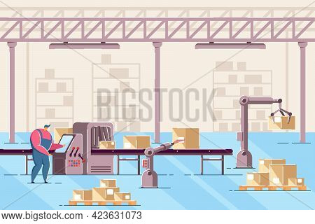 Man Managing Conveyor In Warehouse Flat Vector Illustration. Male Worker Working With Line Of Automa