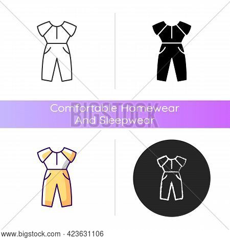 Jumpsuit Icon. Female Outfit. Women Sportswear. Trendy Clothes For Ladies. Stylish Garment. Comforta