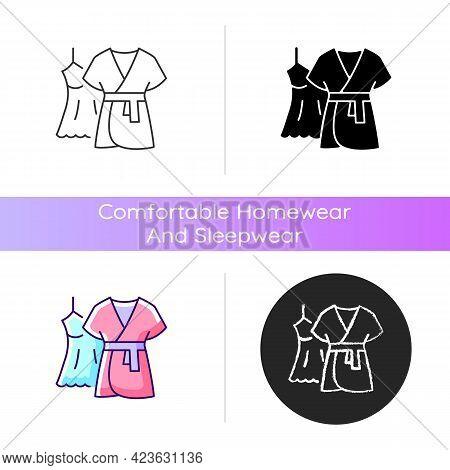 Mini Gown With Robe Icon. Female Sleepwear. Women Nightwear. Ladies Lace Dress For Sleep. Comfortabl