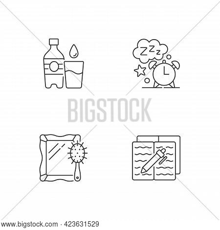 Daily Schedule And Routine Linear Icons Set. Watter Bottle. Sleep Time. Everyday Routine. Customizab