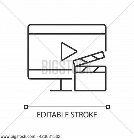 Watching Tv Linear Icon. Television Show Broadcast. Movie On Screen. Home Appliance. Thin Line Custo