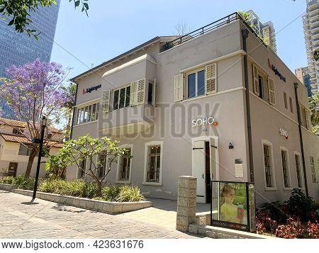Tel-aviv, Israel - May 25, 2021: Historic Houses In The Restored Historic Sarona Quarter Of Tel Aviv