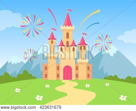 Cartoon Castle With Fireworks At Daytime Vector Illustration. Magic Fairy-tale Palace Of Princess Lo