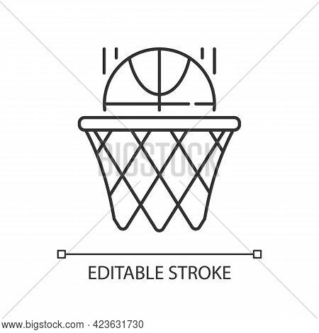 Basketball Linear Icon. Team Sport For Exercise. Scoring Goal With Shooting Ball In Hoop. Thin Line