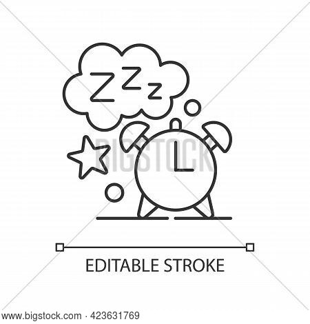 Sleep Time Linear Icon. Alarm Clock. Watch Dial With Nighttime. Countdown To Morning Wake Up. Thin L