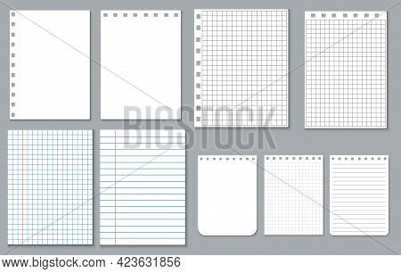 Set Of Sheets Of Paper. Blank, Blank Page Of A Notebook. Tear-off Notepad In A Cage And A Line. Scho