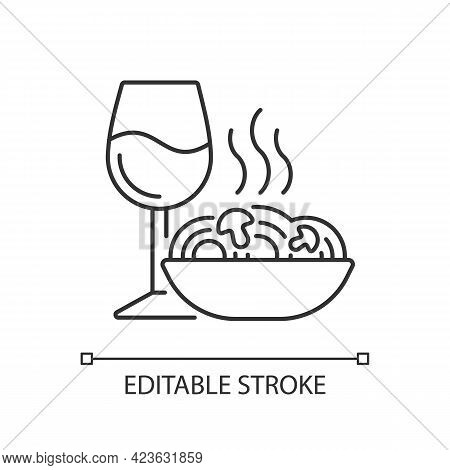 Dinner Linear Icon. Spaghetti And Wine Glass. Romantic Meal. Restaurant Order. Cafe Menu. Thin Line