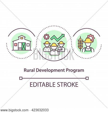 Rural Development Program Concept Icon. Life Improving Of People Living In Rural Areas. Natural Reso