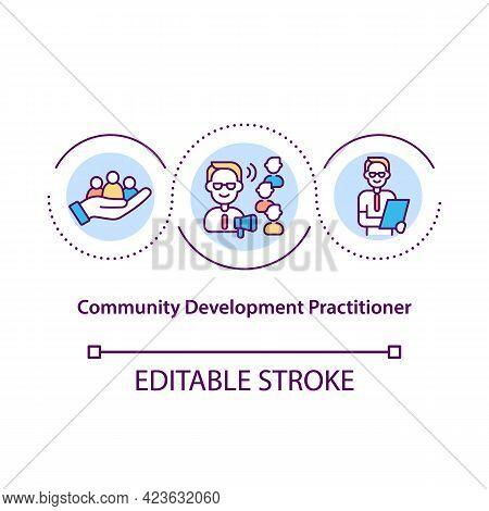 Community Development Practitioner Concept Icon. Agent Improves Life Of Community. Upgrading Society