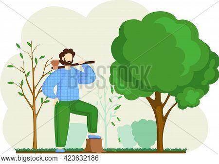 Lumberjack Man With Axe In Forest, Gardener Worker In Yard. Bearded Male Character Woodcutter Works