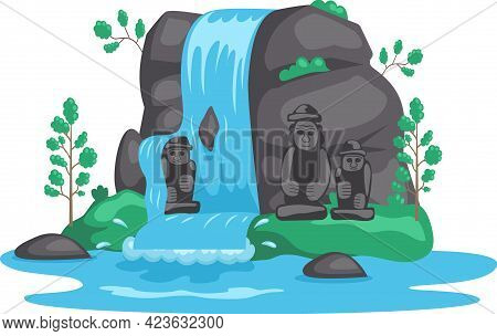Rock, Stone Sculptures, Tropical River And Waterfall In Beautiful Mountains Landscape With Plants, R