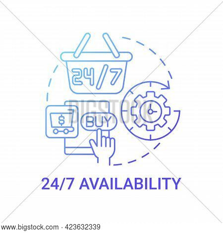 24 7 Availability Concept Icon. Online Marketplace Benefit Abstract Idea Thin Line Illustration. Vir