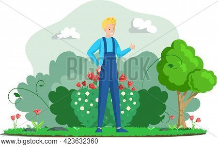 Farm, Farming And Agriculture. Farmer Professional Worker Male Character In Overalls Works In Garden