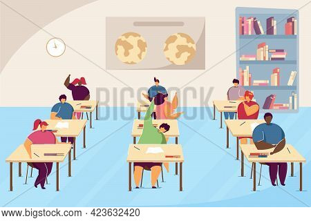 Clipart Of Pupils In Geography Class. Cartoon Boys And Girls Studying For Exam, Classroom Interior F