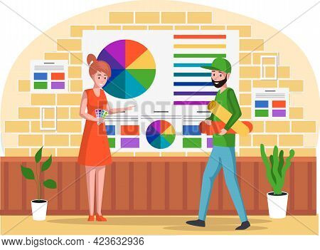 Woman Is Choosing Color From Paint Swatches And Samples. Girl In Office Of Publishing And Printing C