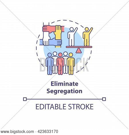 Eliminate Segregation Concept Icon. Fighting Racism Abstract Idea Thin Line Illustration. Diverse, M