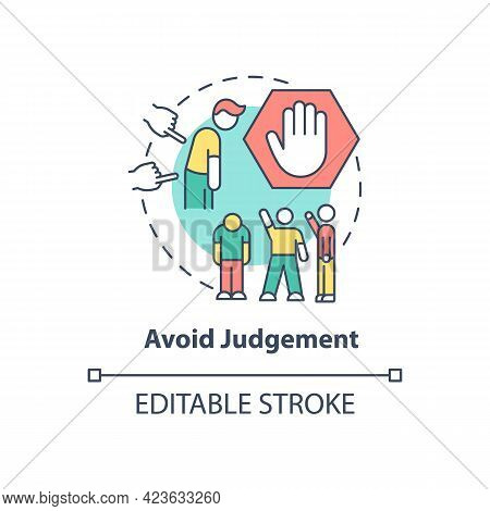 Avoid Judgment Concept Icon. Racism At Work Abstract Idea Thin Line Illustration. Racial Intolerance