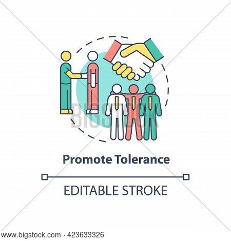 Promote Tolerance Concept Icon. Racism At Work Abstract Idea Thin Line Illustration. Tackling Racial