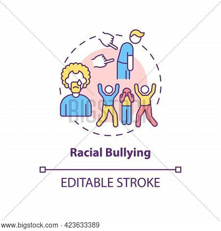 Racial Bullying Concept Icon. Racism In Social Situation Abstract Idea Thin Line Illustration. Teasi