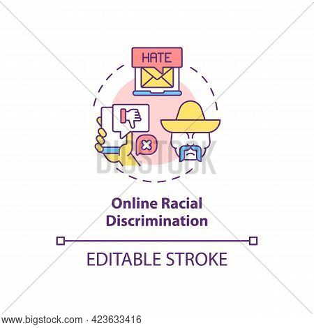 Online Racial Discrimination Concept Icon. Racism In Social Situation Abstract Idea Thin Line Illust