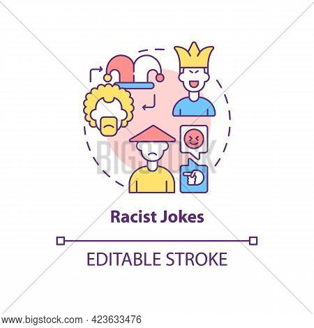 Racist Jokes Concept Icon. Racism In Social Situation Abstract Idea Thin Line Illustration. Stereoty