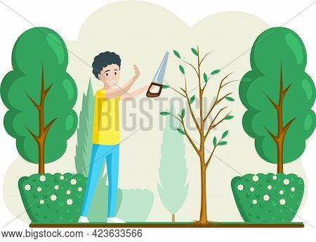 Gardener Cuts A Tree. Pruning Bushes And Garden Maintenance. Man Cuts Branches On Landscape Design B