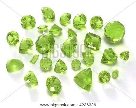 Peridot or chysolite gems isolated on white background. Image for catalog gem sites and other... poster