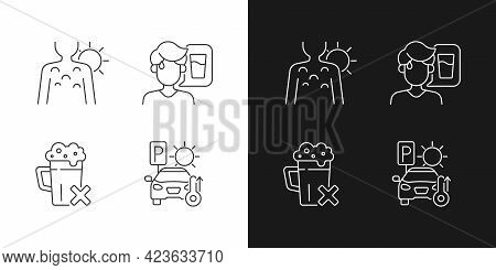 Sunstroke Precaution Linear Icons Set For Dark And Light Mode. Sunburn On Person Skin. Avoid Alcohol