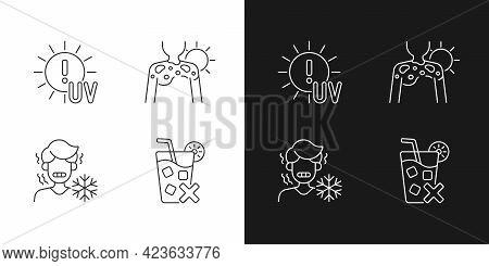 Sunburn Risk Linear Icons Set For Dark And Light Mode. Uv Rays Exposure Risk. Chills From Heatstroke