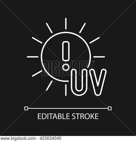 Danger Of Uv Rays White Linear Icon For Dark Theme. Ultraviolet Exposure Risk During Summer. Thin Li