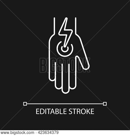 Cramps In Arms And Legs White Linear Icon For Dark Theme. Acute Joint Pain In Arm. Thin Line Customi