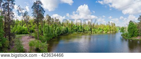 Scenic Narrow Long Forest Lake With Shores Overgrown With Tall Pines Among The Deciduous Trees And S