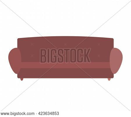 Comfortable Sofa On White Background. Isolated Brown Couch Lounge In Interior, Furniture Item. Moder