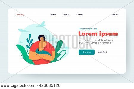 Happy Mom Breastfeeding Baby. New Mother Offering Breast To Newborn Infant. Vector Illustration For
