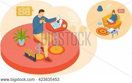 Video Conferencing Concept. Man Drinks Coffee In Cafe Or Office And Communicates Via Video Connectio