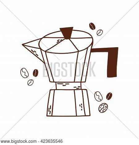 Cute Doodle Style Geyser Coffee Maker. Hand-drawn By Dark Contours Isolated On White. Coloring For C
