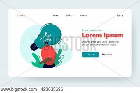 Happy Man Holding Lightbulb. Creative Young Person With Innovative Ideas Flat Vector Illustration. B